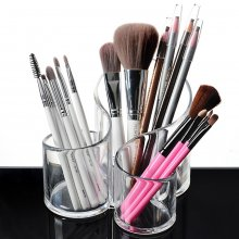 3 Compartment Clear Acrylic Makeup Brush Holder